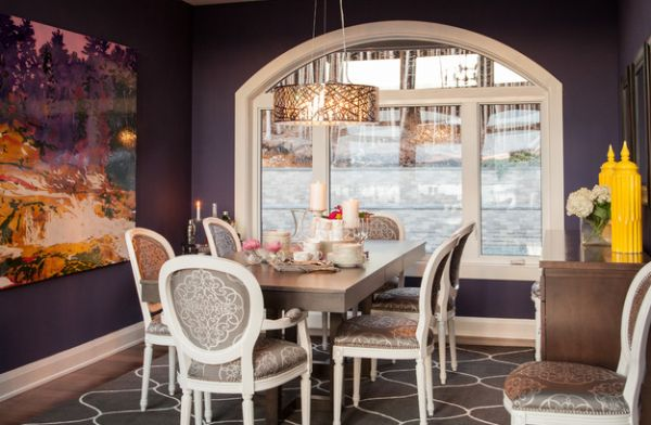 Modern dining room with a drum pendant that adds a hint of metallic tinge!