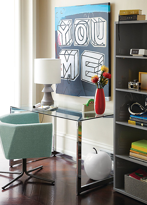 Modern eclectic office area