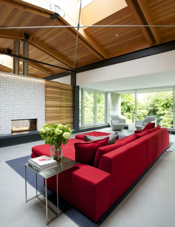 Modern fireplace adds warmth to the setting