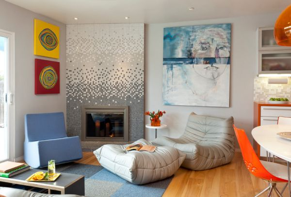 Modern living room sporting an array of colors