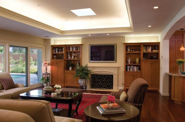 Modern living room with recessed cove lighting