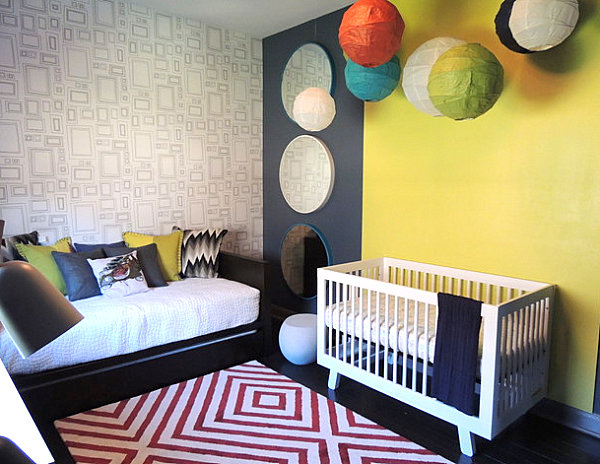 Modern nursery with sleeping space
