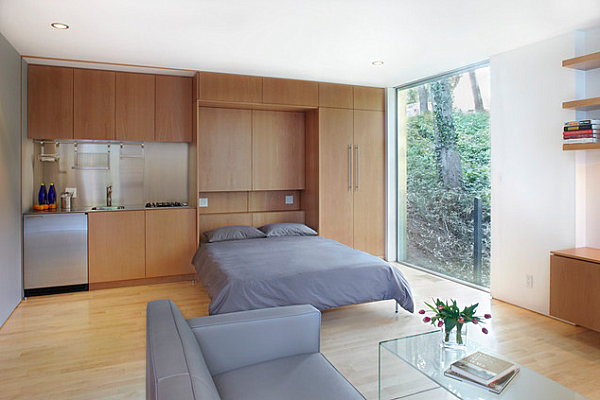 Murphy bed in a studio apartment
