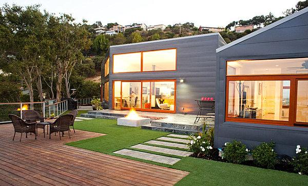 Neatly landscaped backyard