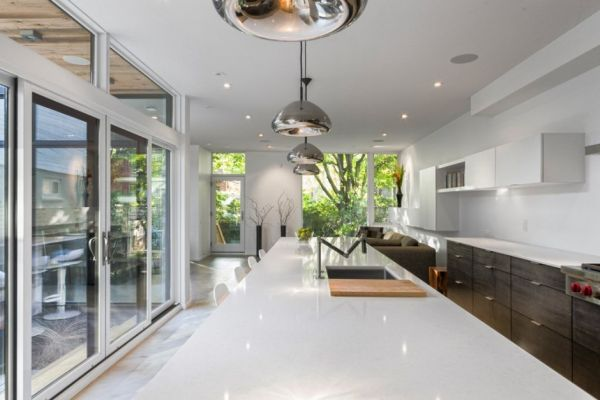 Neutral interiors in white and gray illuminated by smart lighting