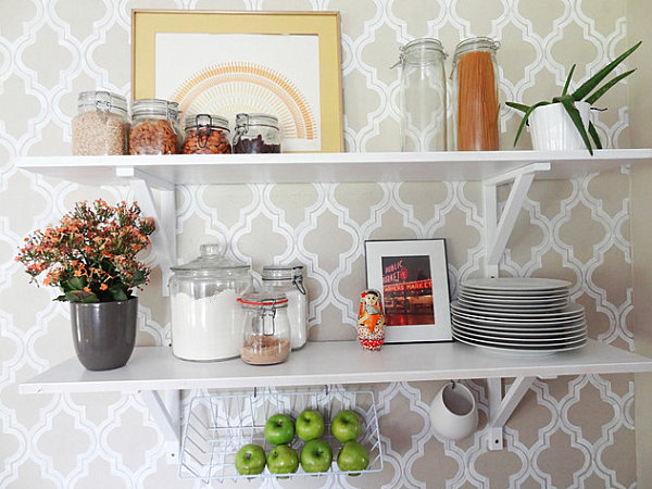 Open shelving in a bright kitchen