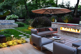 Outdoor seating in a modern yard