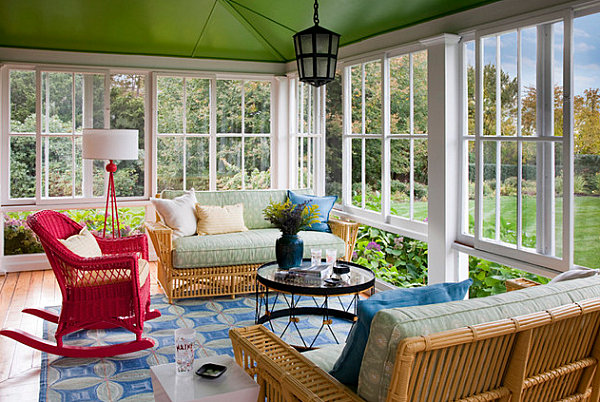 Painted ceiling in a Rhode Island sunroom
