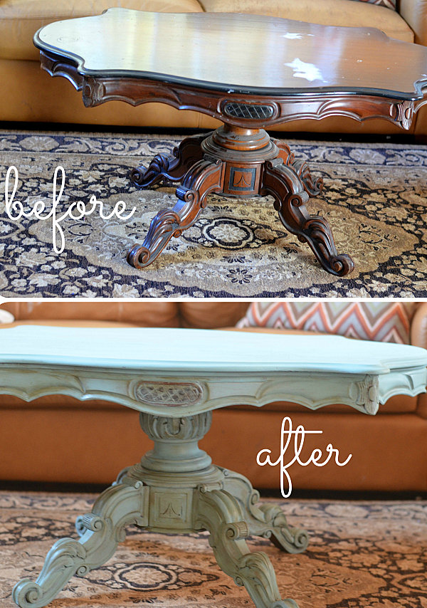 Painted coffee table makeover