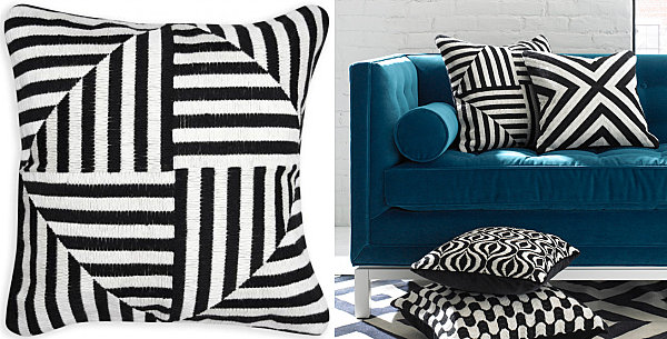 Patchwork pillow with black stripes