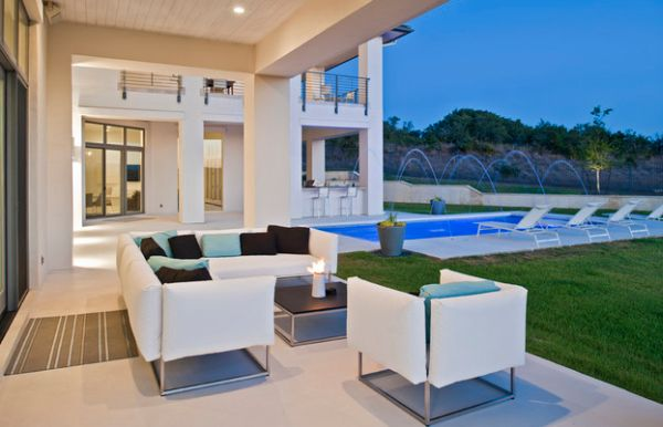 Patio with soft contemporary appeal and colorful accent pillows