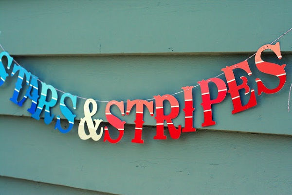 Patriotic stars and stripes banner Paint Chips Spawn Delightful DIY Projects