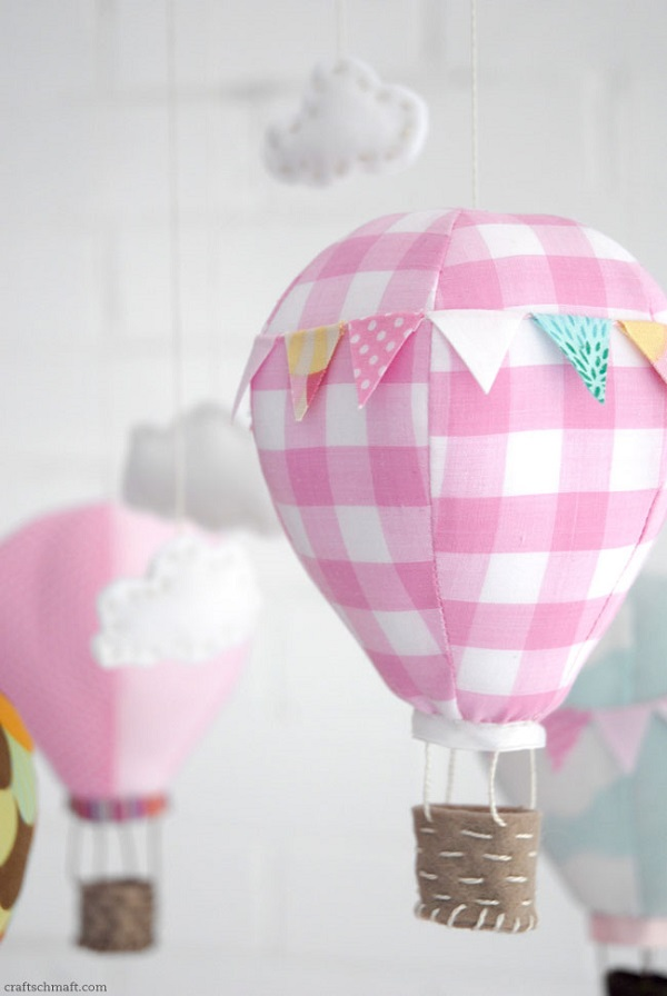 Pink and white plaid air balloon mobile