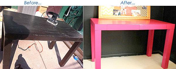 Pink desk makeover