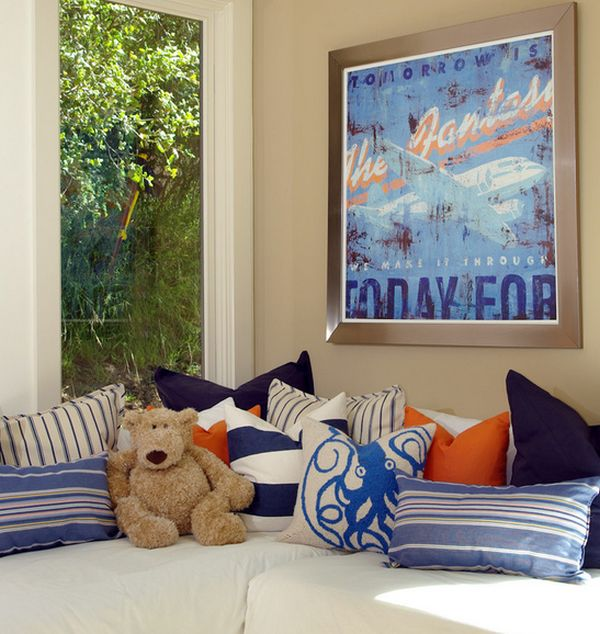 Pops of orange and a splash of blue are accentuated by the poster