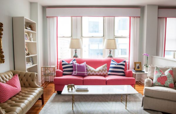 Pretty pink couch seems to take you back to the rollicking 80s!