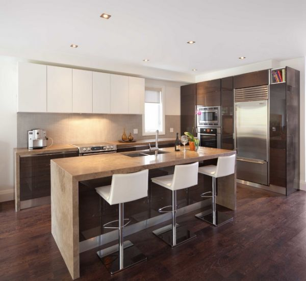 Recessed lighting is a popular choice in the modern kitchen