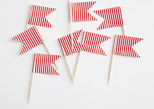 Red and white striped toothpick flags