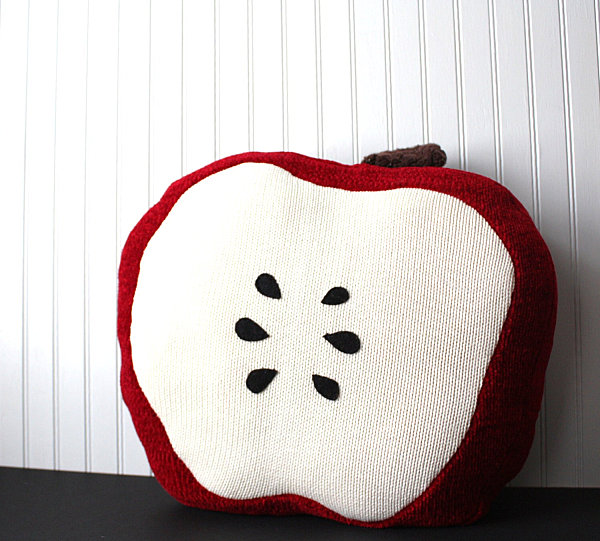 Red apple upcycled pillow