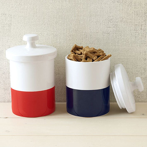 Red, white and blue pet jars