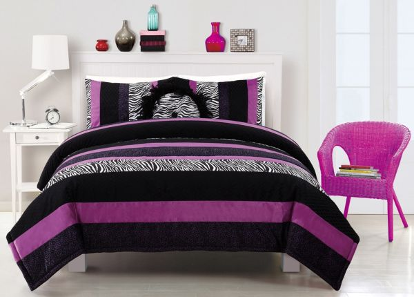 Regal purple added to black and white striped pattern