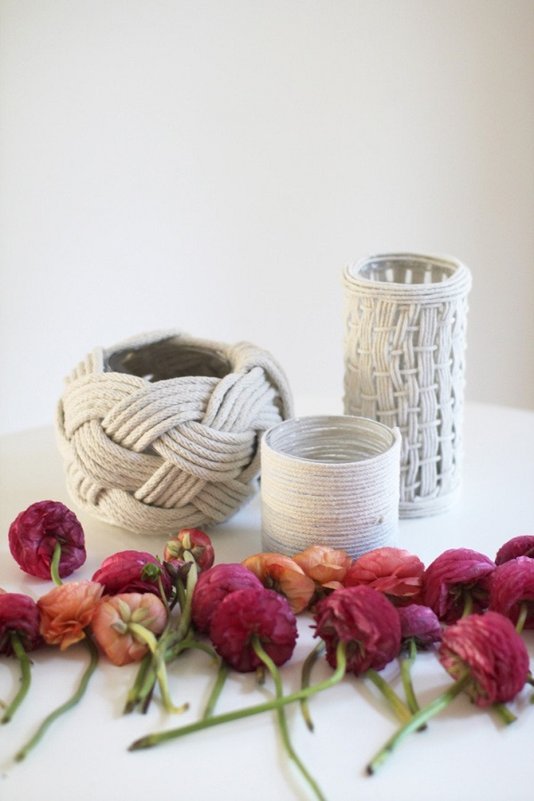 Rope wrapped vases