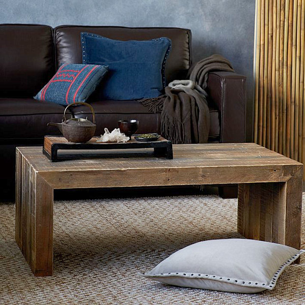 Rustic coffee table adds eclectic style