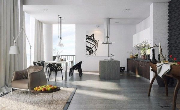 Semi-minimalist living room brings in color with fruit and flowers