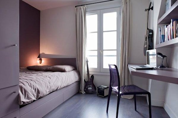 simple and stylish space in purple - Small Room Design