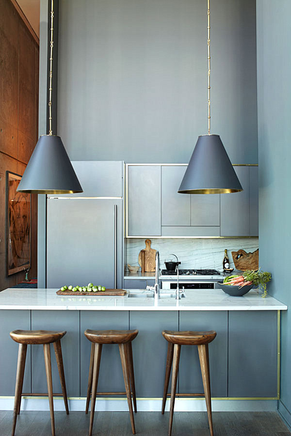 View In Gallery Sleek Gray And Gold Kitchen
