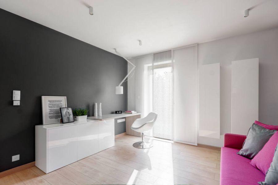 Sleek work space with focussed lighting