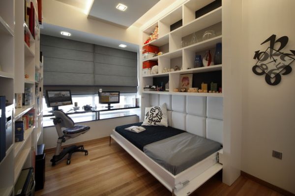 small bedroom that also doubles up as home office