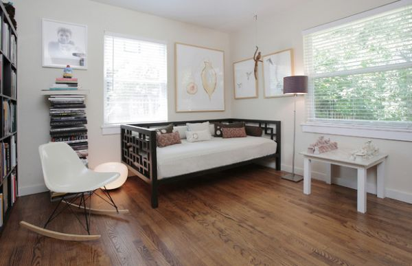 Smart home office with a simple and elegant daybed
