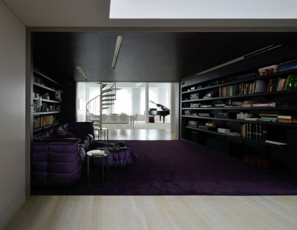 Sophisticated family room with regal purple Togo