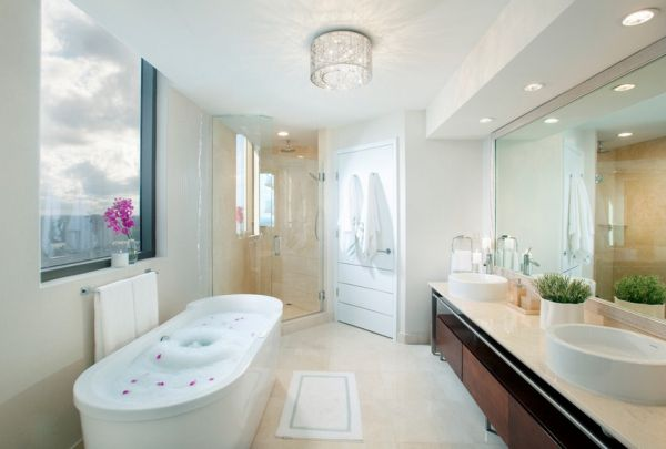 Place Recessed Lights Just Right To Get Uniform Illumination View In Gallery Spa Like Bathroom At Home In White With Comforting Ambiance
