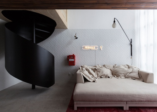 Space saving solutions Small Apartment in Sao Paulo Turned Into A Savvy Bachelor Pad