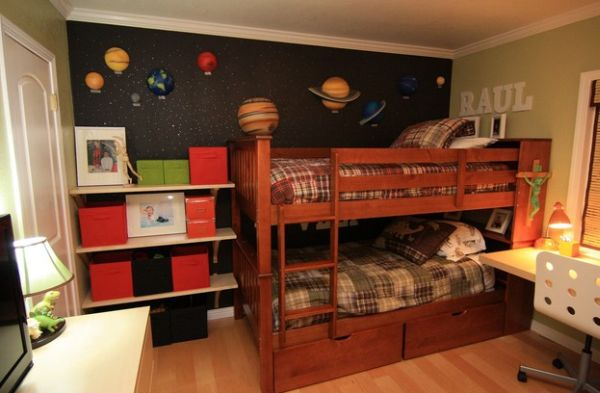Space themed boys' bedroom