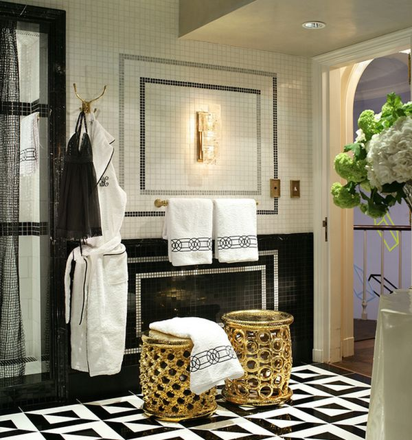 Stools in gold lend an oriental charm to the bathroom