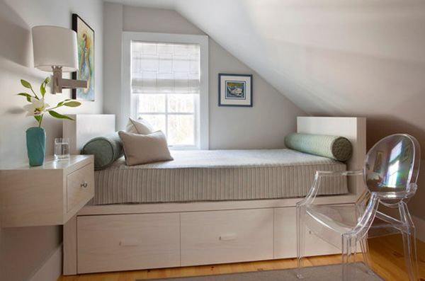 Storage underneath the bed and decor that does away with legs - Perfect for small bedrooms