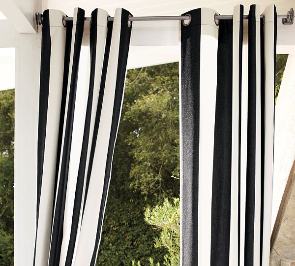 Striped outdoor drapes