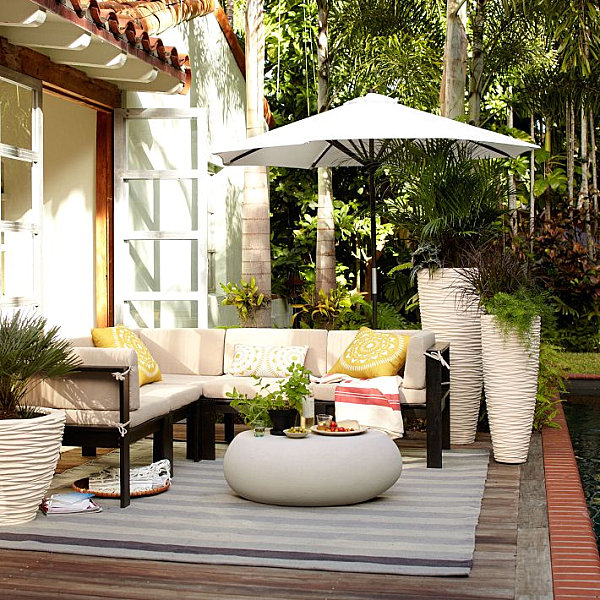 Striped outdoor kilim 20 Amazing Finds for Outdoor Living Spaces