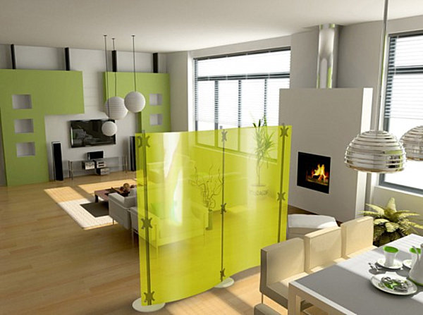 studio apartment with a screen divider