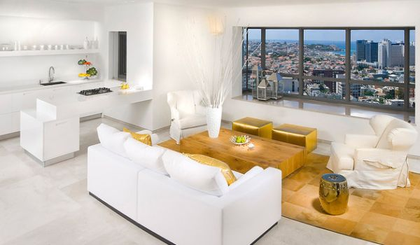 Stunning living room in white and gold Gold Dust: Modern Interiors With Glittering Golden Shine