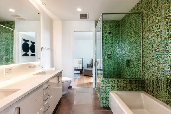 Modern aurea home in seattle blends bright interiors and for White and green bathroom ideas