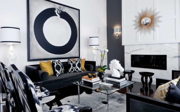 Stylish living room in white and bold blue with elegant golden accents