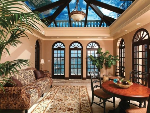 Exquisite room with custom skylight and arched windows