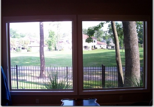 Compare the untreated window (left side) with the protected window