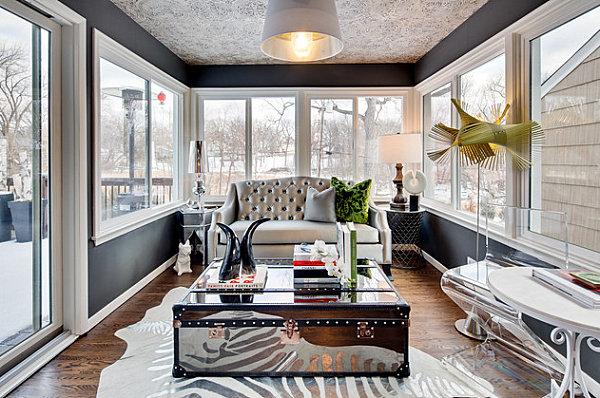 Sunroom with glamorous style
