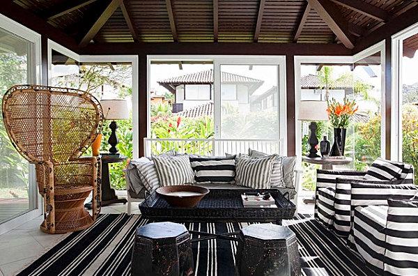 Sunroom with striped decor