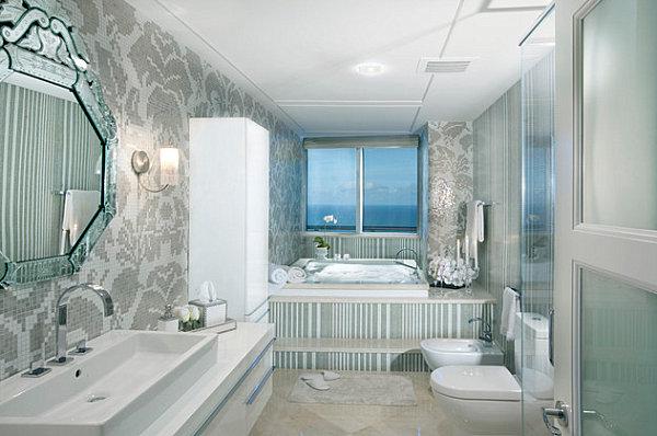 Tile floors in a modern bathroom